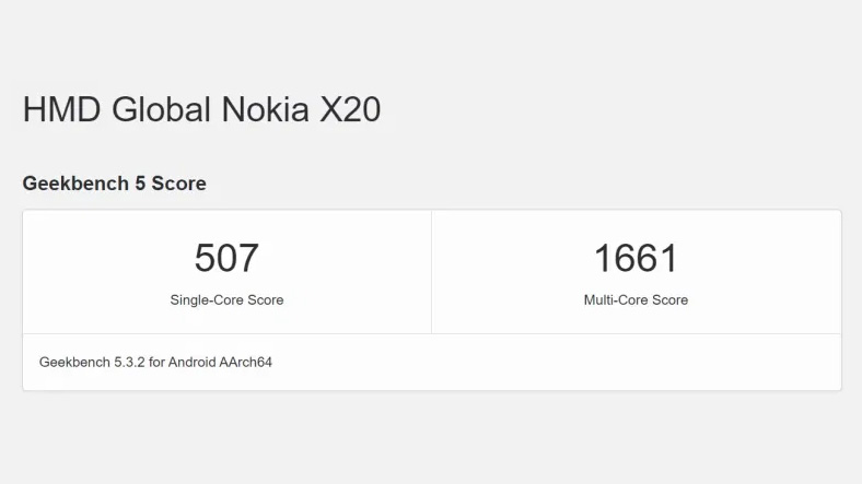 Nokia X20 Geekbench